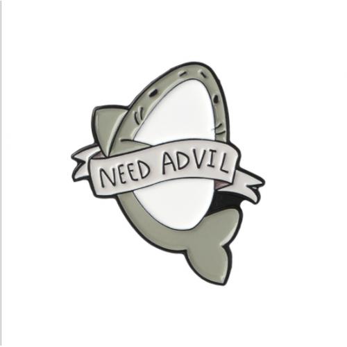 "Купить значок акула ""Need Advil"" на одежду в Минске"