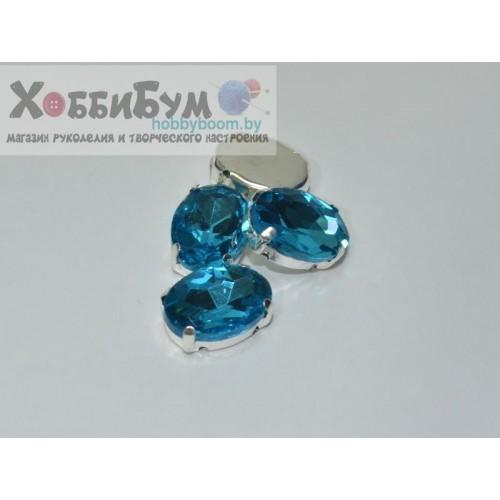 Пришивные камни - стразы в цапах 14 х 10 мм (стекло)
