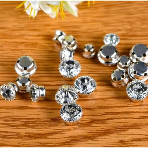 Пришивные камни - стразы круглые d 8 мм в цапах