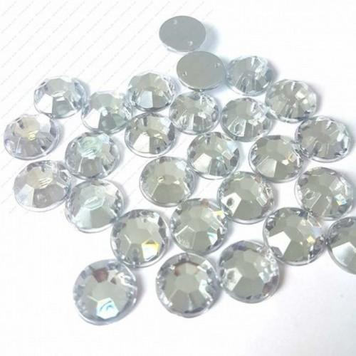 Стразы пришивные, d 10 мм, белый