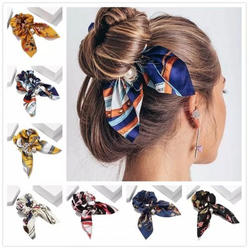 Резинка для волос с платком (с бусиной)