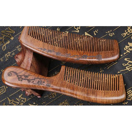 Расческа для волос из сандалового дерева с ручкой