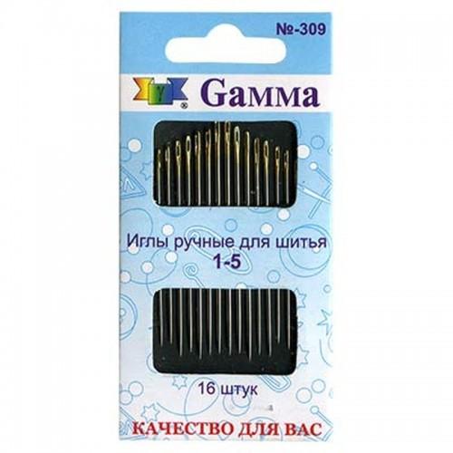 """Иглы для шитья ручные """"Gamma"""" для шитья №1-5 16 шт."""