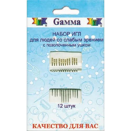 """Иглы для шитья ручные """"Gamma"""" """"для слабовидящих"""" HN-07"""